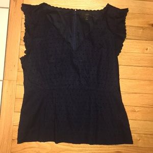 J. CREW navy scallop edge dot blouse 12